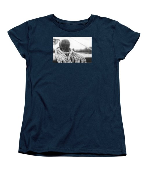 Women's T-Shirt (Standard Cut) featuring the photograph Beneath The Sail Coiled Rope by Bob Decker