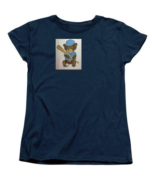 Women's T-Shirt (Standard Cut) featuring the painting Benny Bear Baseball by Tamir Barkan
