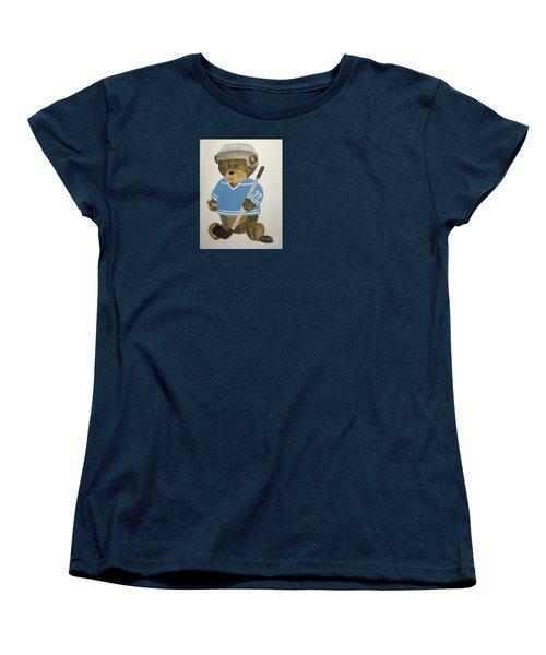 Women's T-Shirt (Standard Cut) featuring the painting Benny Bear Hockey by Tamir Barkan