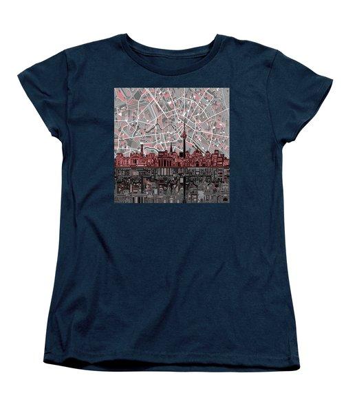 Berlin City Skyline Abstract Women's T-Shirt (Standard Cut) by Bekim Art