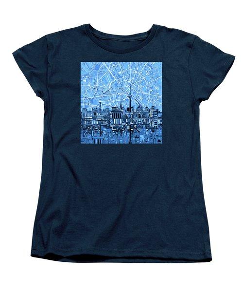 Berlin City Skyline Abstract Blue Women's T-Shirt (Standard Cut) by Bekim Art