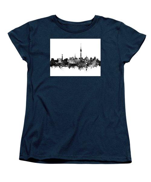 Berlin City Skyline Black And White Women's T-Shirt (Standard Cut) by Bekim Art