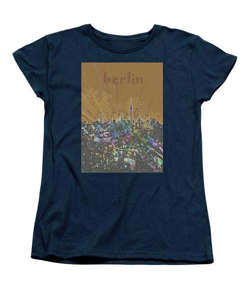 Berlin City Skyline Map 4 Women's T-Shirt (Standard Cut) by Bekim Art