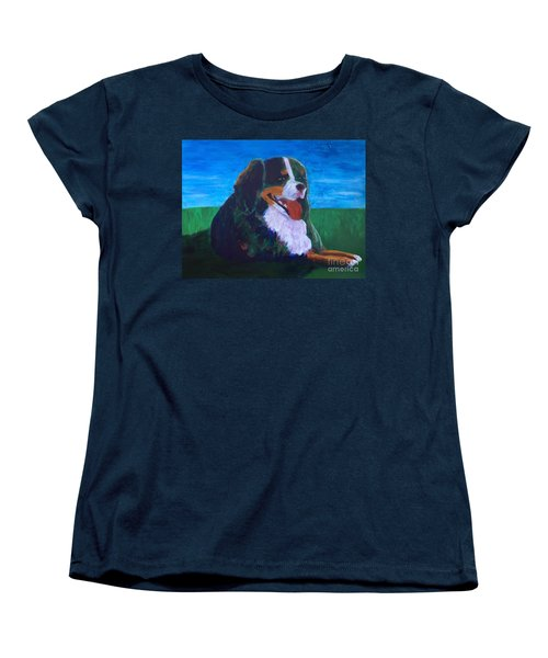 Women's T-Shirt (Standard Cut) featuring the painting Bernese Mtn Dog Resting On The Grass by Donald J Ryker III
