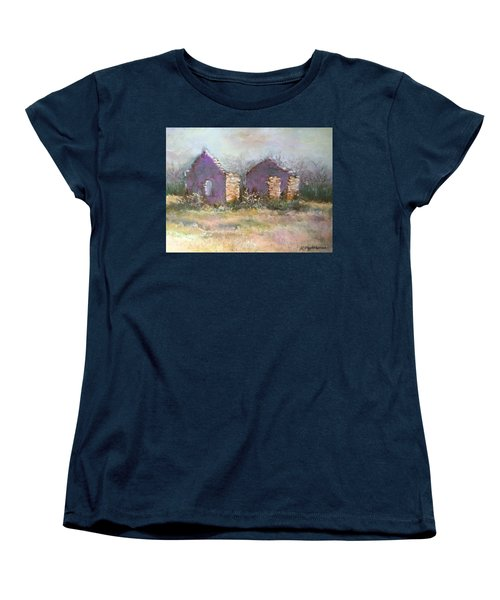 Women's T-Shirt (Standard Cut) featuring the pastel Bethel School At Sunset by Rebecca Matthews