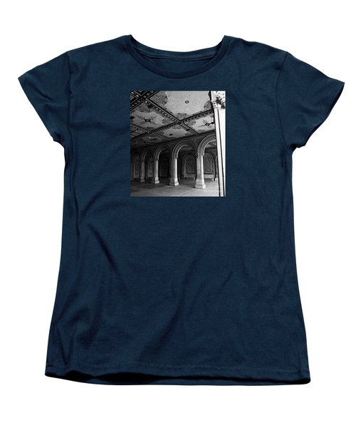Bethesda Terrace Arcade In Central Park - Bw Women's T-Shirt (Standard Cut) by James Aiken
