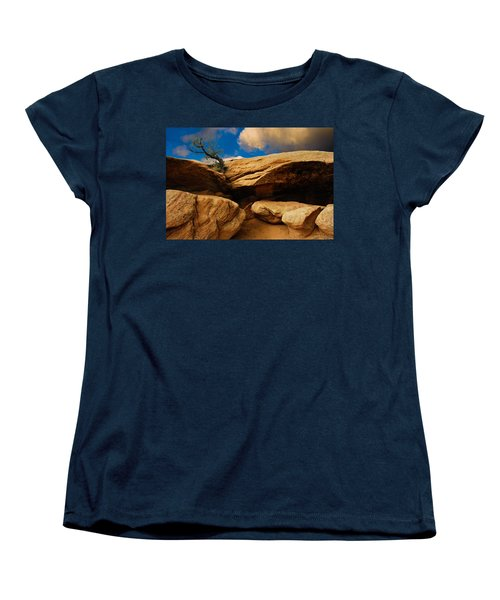 Women's T-Shirt (Standard Cut) featuring the photograph Between A Rock And A Hard Place by Harry Spitz