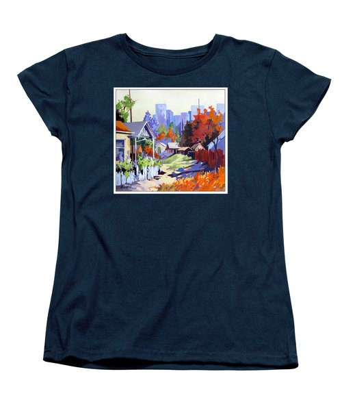 Women's T-Shirt (Standard Cut) featuring the painting Beyond The City Limits by Rae Andrews