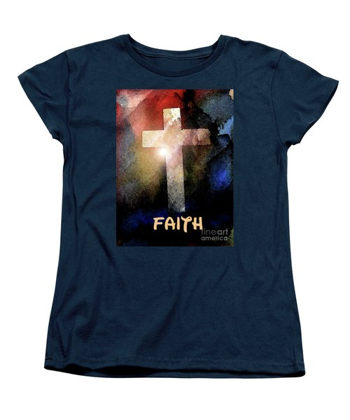 Women's T-Shirt (Standard Cut) featuring the painting Biblical-faith by Terry Banderas