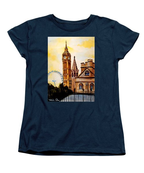 Big Ben And London Eye - Art By Dora Hathazi Mendes Women's T-Shirt (Standard Cut) by Dora Hathazi Mendes