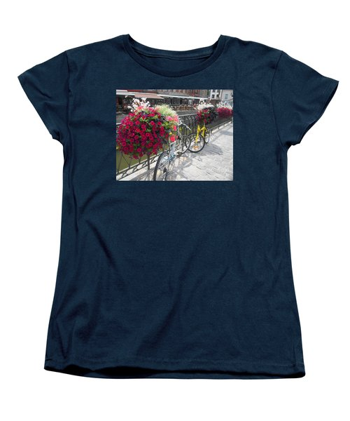 Bike And Flowers Women's T-Shirt (Standard Cut) by Therese Alcorn