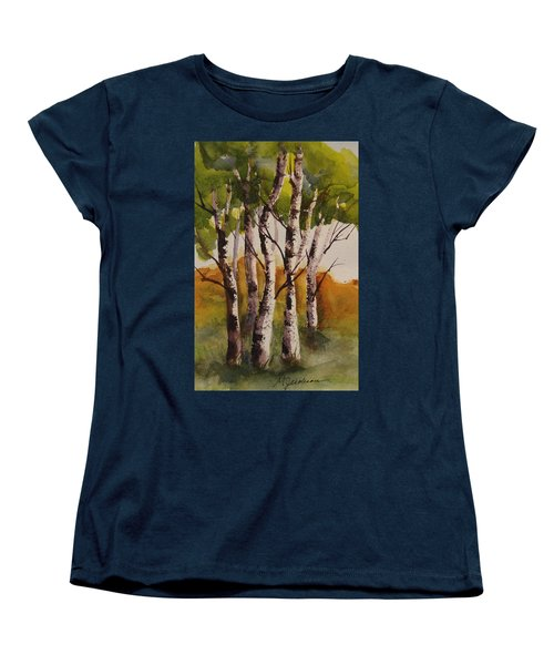 Women's T-Shirt (Standard Cut) featuring the painting Birch by Marilyn Jacobson