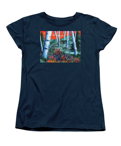 Women's T-Shirt (Standard Cut) featuring the painting Birch Trees At Sunset by Curtiss Shaffer