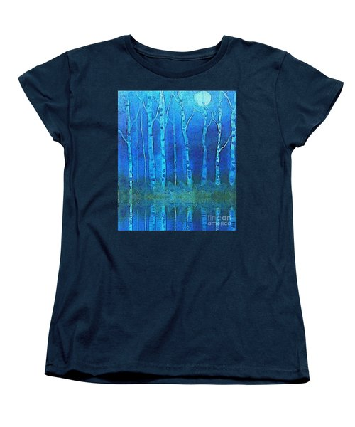 Birches In Moonlight Women's T-Shirt (Standard Cut) by Holly Martinson