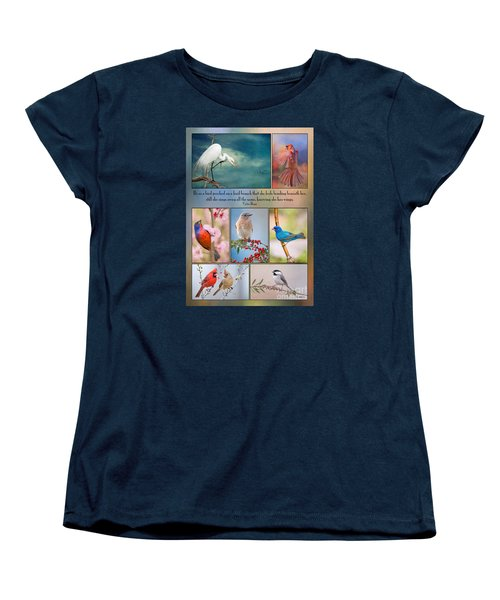 Bird Collage With Motivational Quote Women's T-Shirt (Standard Cut) by Bonnie Barry