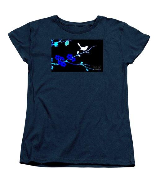 Bird In A Flower Tree Abstract Women's T-Shirt (Standard Cut) by Marsha Heiken