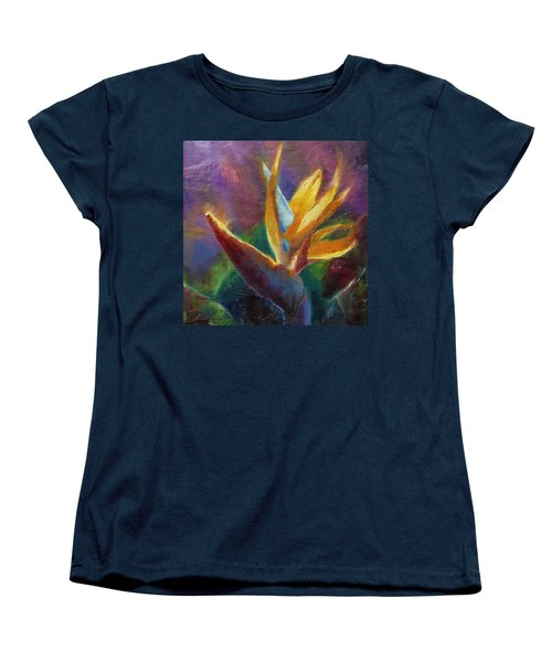 Women's T-Shirt (Standard Cut) featuring the painting Bird Of Paradise - Tropical Hawaiian Flowers by Karen Whitworth