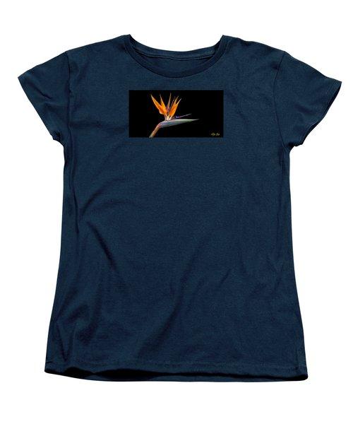 Bird Of Paradise Flower On Black Women's T-Shirt (Standard Cut)