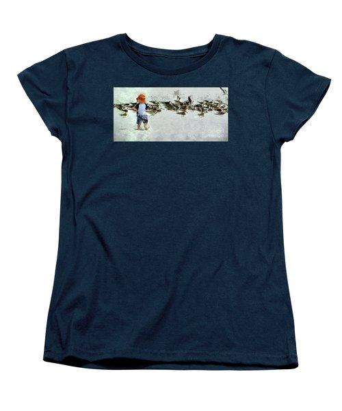 Bird Play Women's T-Shirt (Standard Cut) by Claire Bull