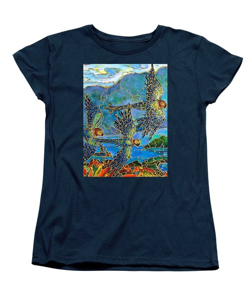 Women's T-Shirt (Standard Cut) featuring the painting Birds Of Paradise by Rae Chichilnitsky