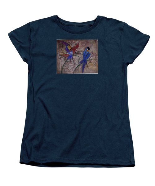 Birds On A Mayan Wall Women's T-Shirt (Standard Cut)
