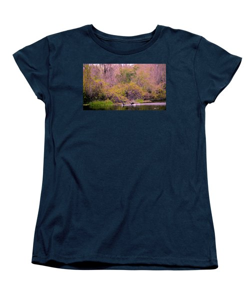 Women's T-Shirt (Standard Cut) featuring the photograph Birds Playing In The Pond 2 by Madeline Ellis