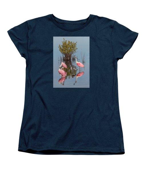 Birds, Reflections, And Mangrove Bush Women's T-Shirt (Standard Cut) by Dorothy Cunningham