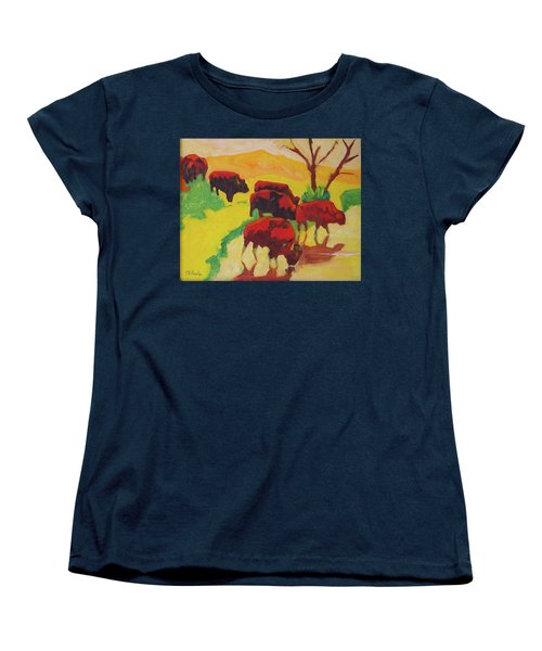 Bison Art Bison Crossing Stream Yellow Hill Painting Bertram Poole Women's T-Shirt (Standard Cut) by Thomas Bertram POOLE