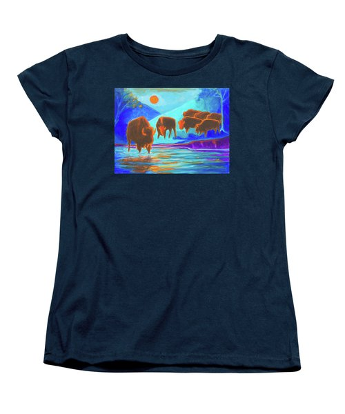 Bison Art - Seven Bison At Sunrise Yosemite Painting T Bertram Poole Women's T-Shirt (Standard Cut) by Thomas Bertram POOLE
