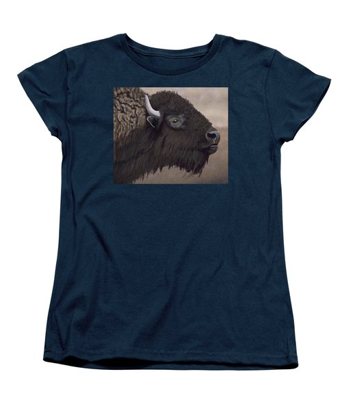 Bison Women's T-Shirt (Standard Cut) by Jacqueline Barden