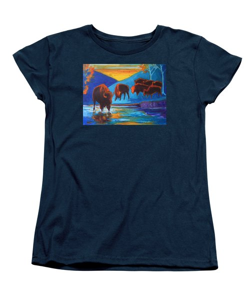 Bison Turquoise Hill Sunset Acrylic And Ink Painting Bertram Poole Women's T-Shirt (Standard Cut) by Thomas Bertram POOLE