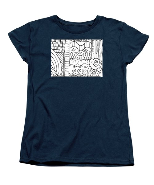 Black And White Abstract  Women's T-Shirt (Standard Cut)