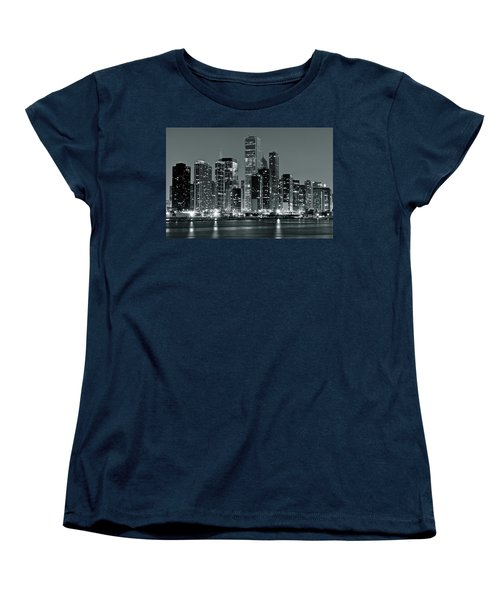 Women's T-Shirt (Standard Cut) featuring the photograph Black And White And Grey Chicago Night by Frozen in Time Fine Art Photography