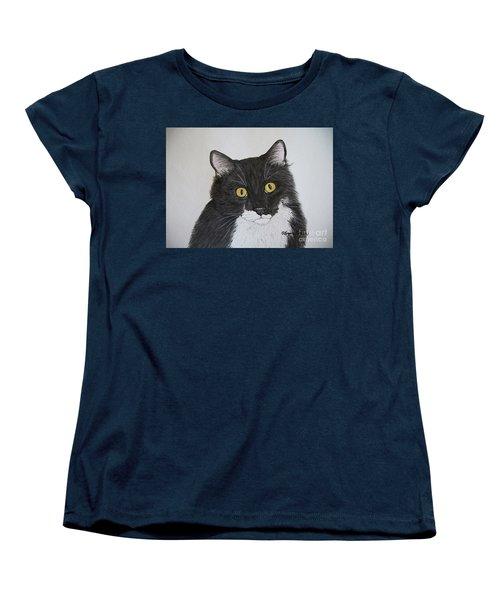 Black And White Cat Women's T-Shirt (Standard Cut) by Megan Cohen