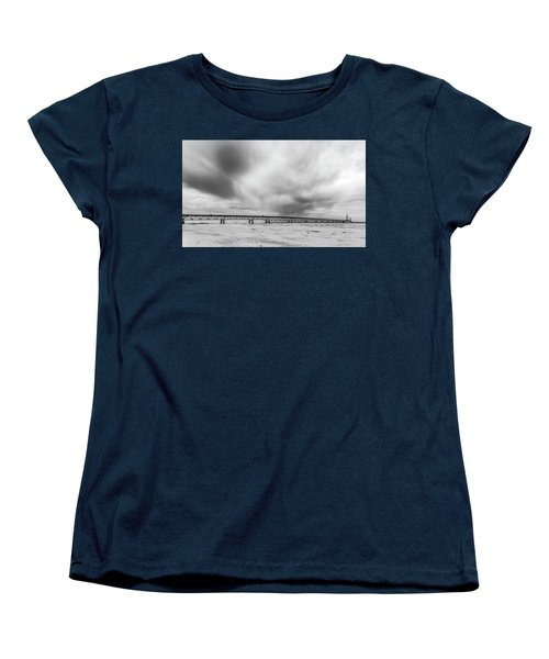 Women's T-Shirt (Standard Cut) featuring the photograph Black And White Mackinac Bridge Winter by John McGraw