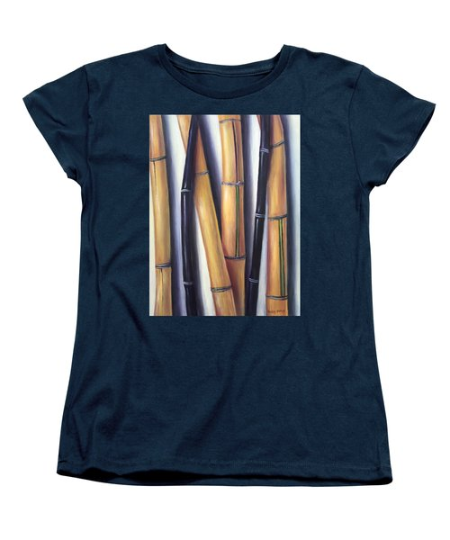 Women's T-Shirt (Standard Cut) featuring the painting Black And Gold Bamboos by Randol Burns