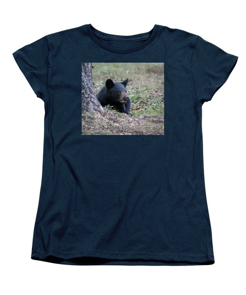 Black Bear Resting Women's T-Shirt (Standard Cut) by Tyson and Kathy Smith