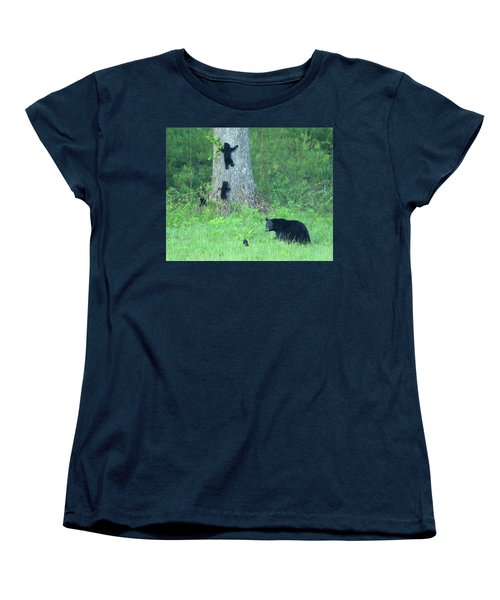 Black Bear Sow And Four Cubs Women's T-Shirt (Standard Cut)