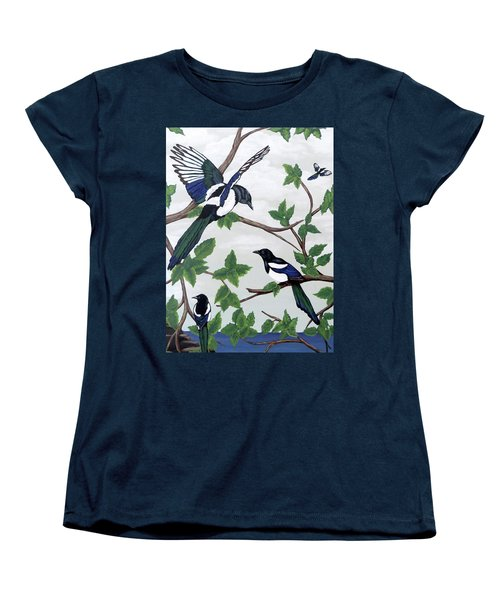 Black Billed Magpies Women's T-Shirt (Standard Cut) by Teresa Wing