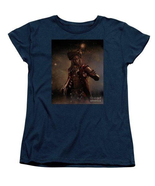 Women's T-Shirt (Standard Cut) featuring the digital art Black Caesar Pirate by Shanina Conway