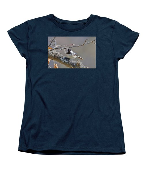Women's T-Shirt (Standard Cut) featuring the photograph Black Capped Chickadee 1109 by Michael Peychich