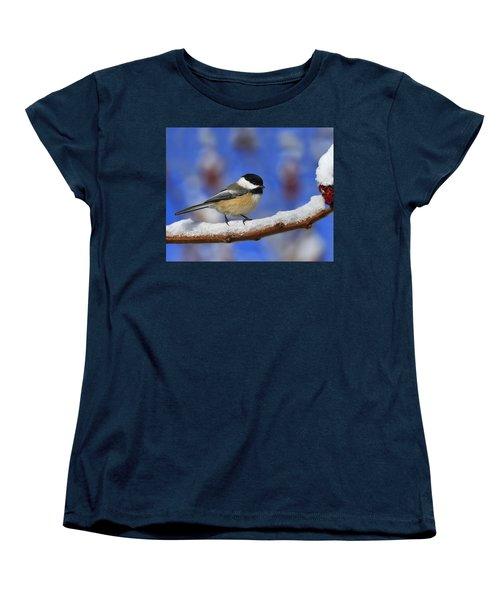 Black-capped Chickadee In Sumac Women's T-Shirt (Standard Cut) by Tony Beck