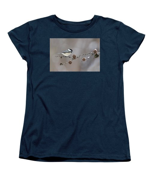 Women's T-Shirt (Standard Cut) featuring the photograph Black-capped Chickadee by Mircea Costina Photography