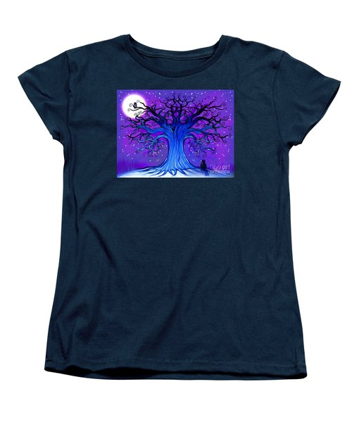 Women's T-Shirt (Standard Cut) featuring the drawing Black Cat And Night Owl by Nick Gustafson