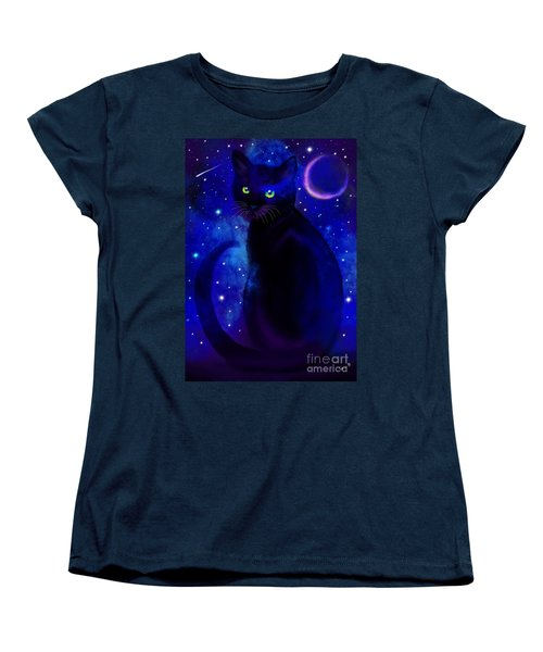 Women's T-Shirt (Standard Cut) featuring the painting Black Cat Blues  by Nick Gustafson