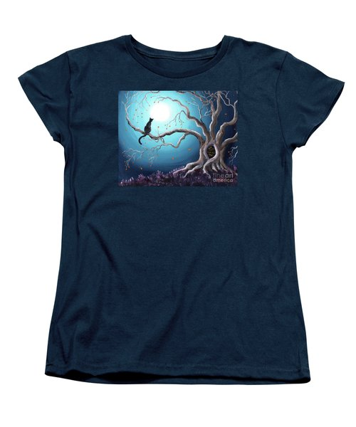 Black Cat In A Haunted Tree Women's T-Shirt (Standard Cut) by Laura Iverson
