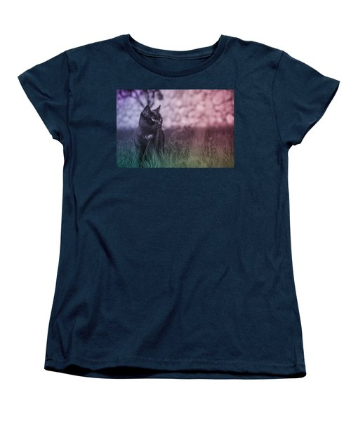 Black Cat Women's T-Shirt (Standard Cut) by Silvia Bruno