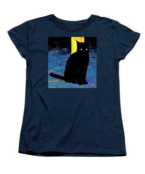 Black Cat Yellow Eyes Women's T-Shirt (Standard Cut) by Gina O'Brien