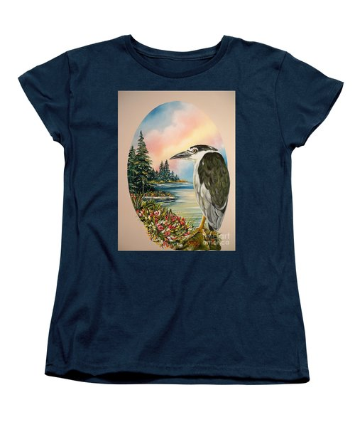 Women's T-Shirt (Standard Cut) featuring the painting Black Crowned Heron by Sigrid Tune