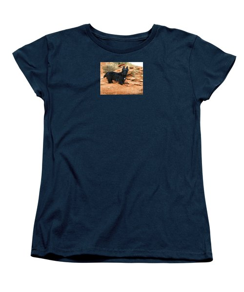 Women's T-Shirt (Standard Cut) featuring the photograph Black Dog Red Rock by Michele Penner